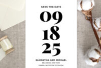 Bold Save The Date Card Printable, Wedding Save The Date Template, Black  And White Save The Date, Classic Wedding Instant Download Sd5 intended for Save The Date Powerpoint Template