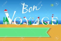 Bon Voyage. Travel Card. White Buildings On The Summer Beach inside Bon Voyage Card Template