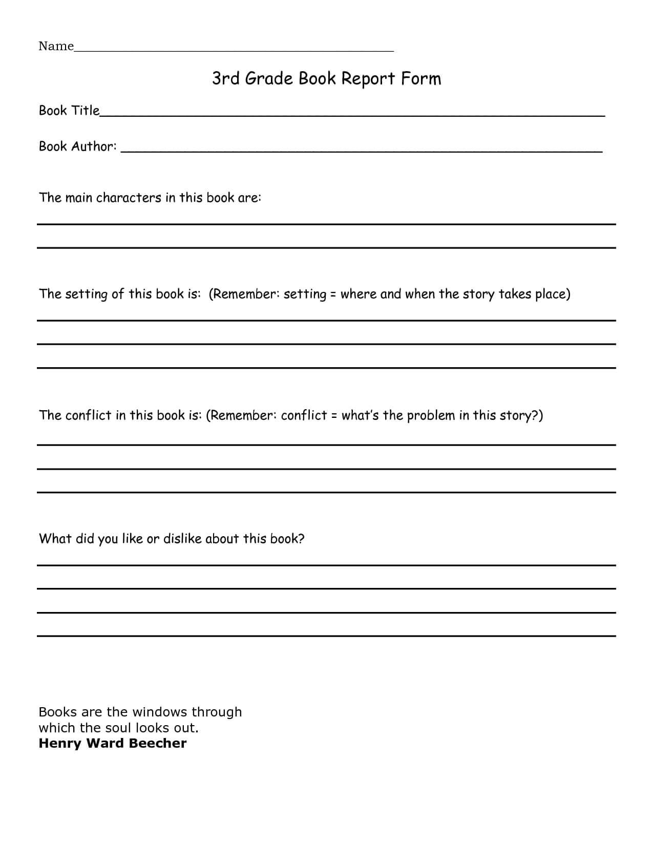 Book Report 3Rd Grade Template - Google Search | Home In Book Report Template 3Rd Grade