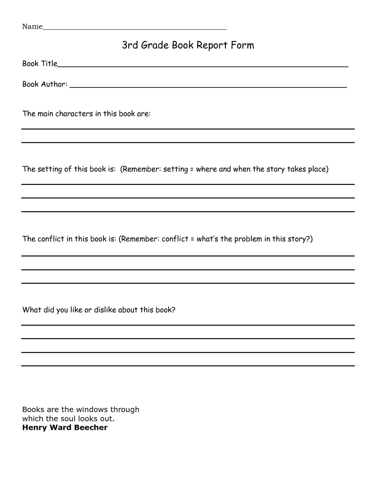 Book Report 3Rd Grade Template – Google Search | Home Regarding Character Report Card Template