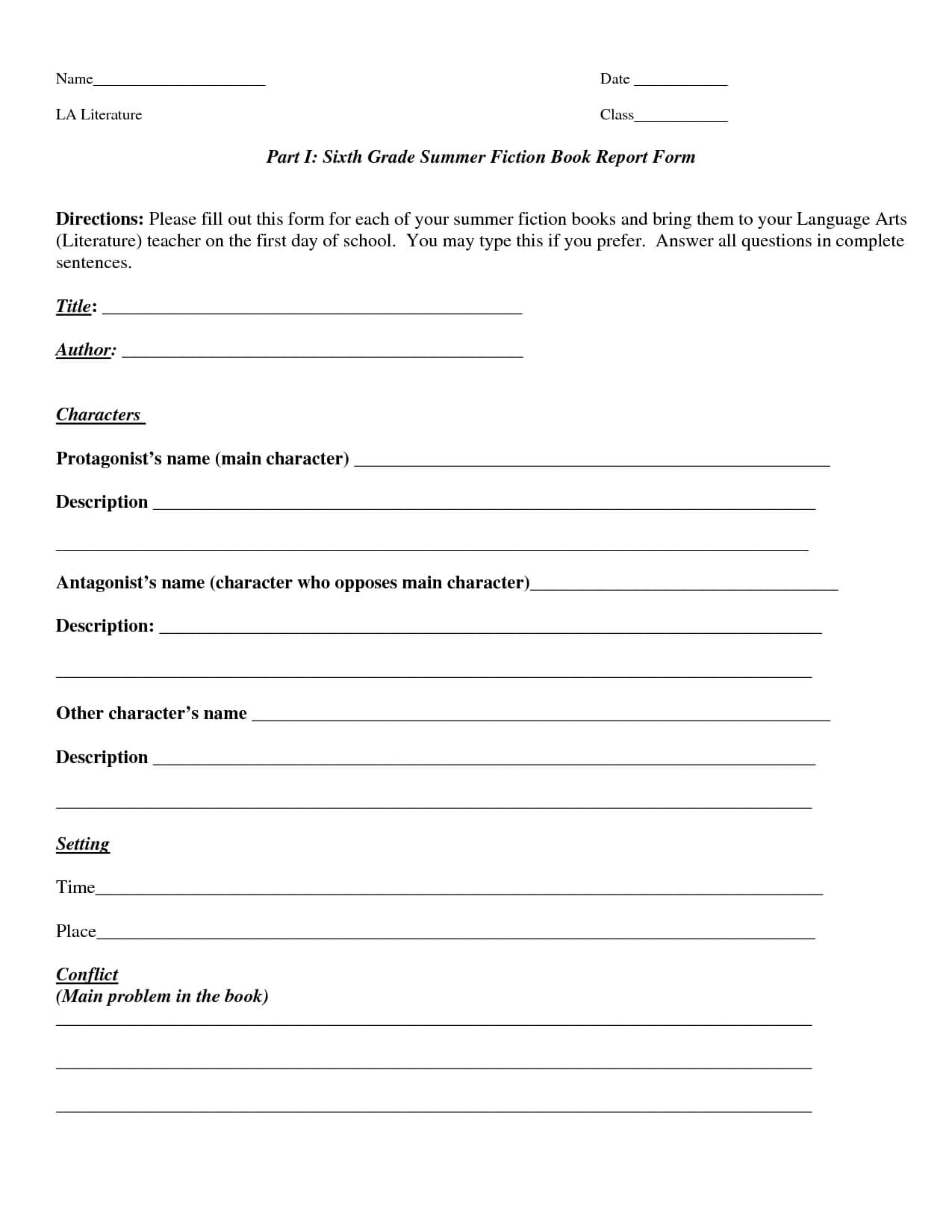 Book Report Template | Part I Sixth Grade Summer Fiction regarding Book Report Template Grade 1