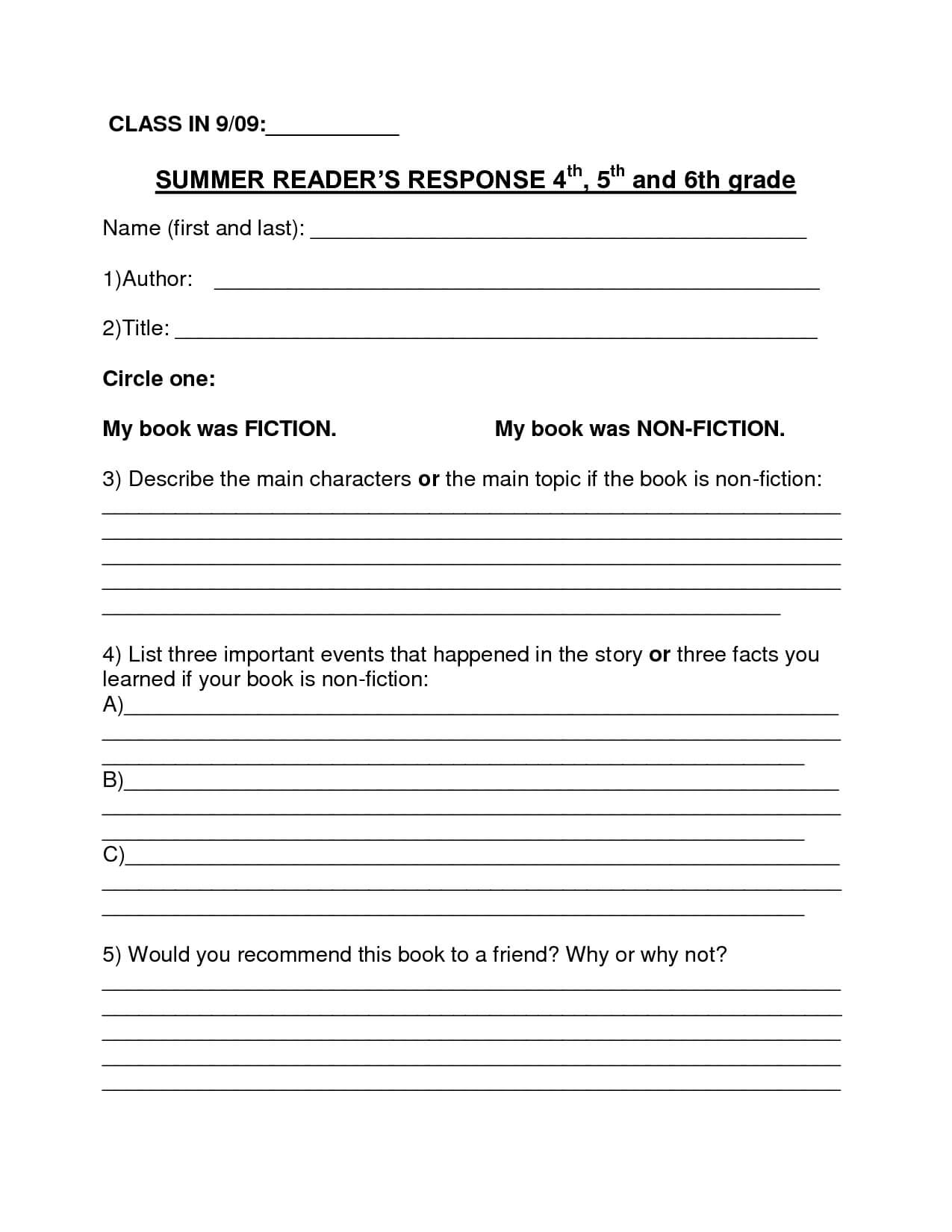 Book Report Template | Summer Book Report 4Th  6Th Grade For 6Th Grade Book Report Template