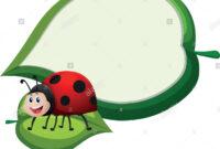 Border Template With Ladybug On Leaf Illustration Stock with regard to Blank Ladybug Template