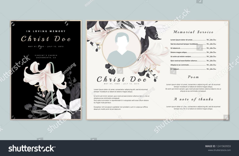 Botanical Memorial Funeral Invitation Card Template Stock throughout Funeral Invitation Card Template