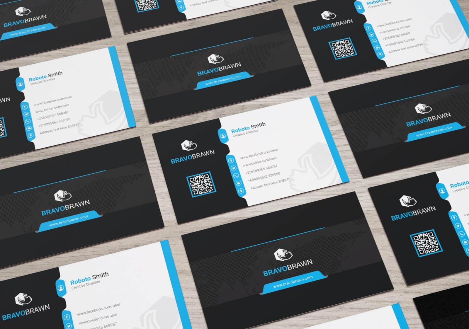 Bravo Elegant Corporate Business Card Template 000954 | E With Qr Code Business Card Template