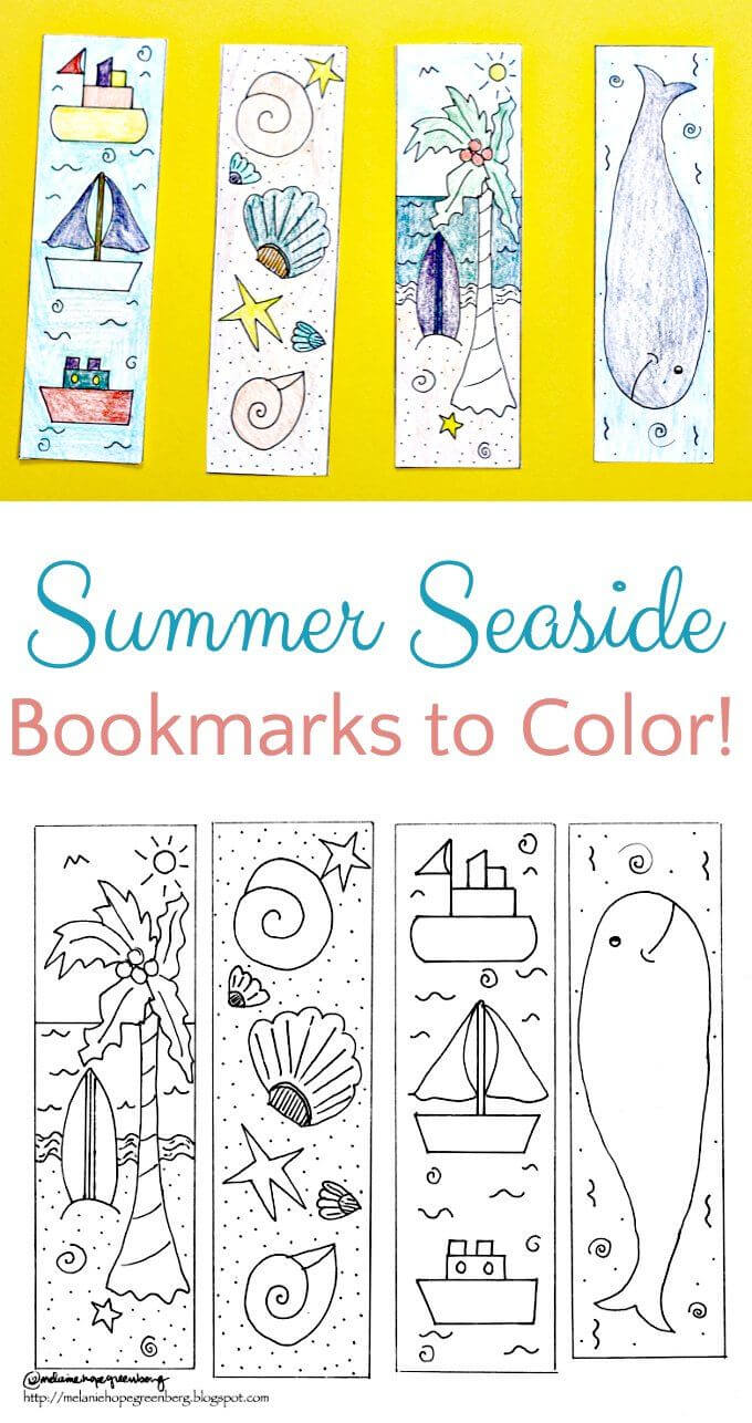 Breezy Summer Seaside Bookmark Coloring Page | Bookmarks throughout Free Blank Bookmark Templates To Print