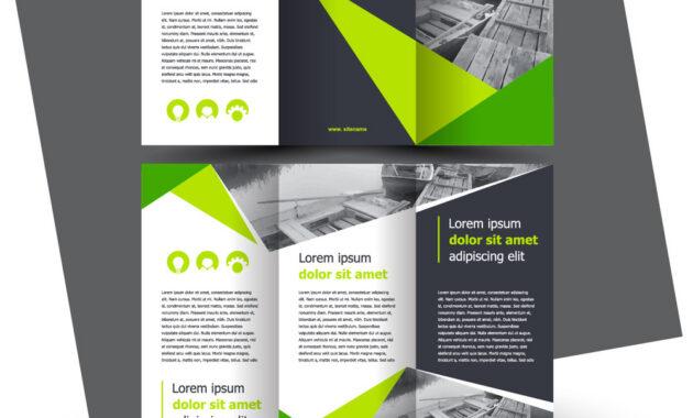Brochure Design Template Creative Tri-Fold Green inside E Brochure Design Templates