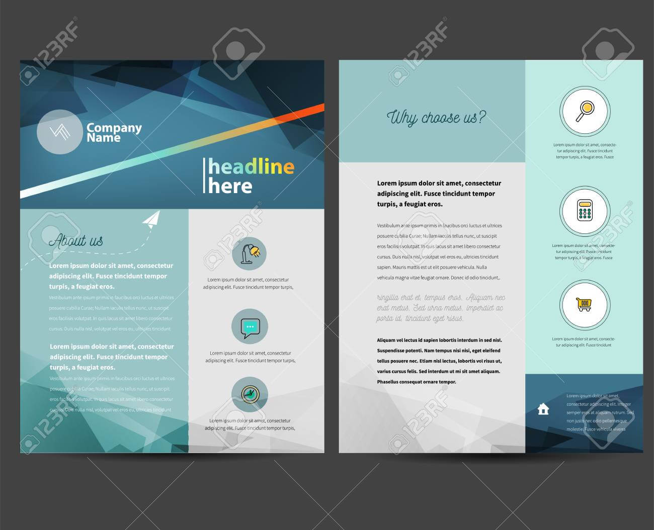 Brochure Or Flyer Design Template In Letter Size within Letter Size Brochure Template
