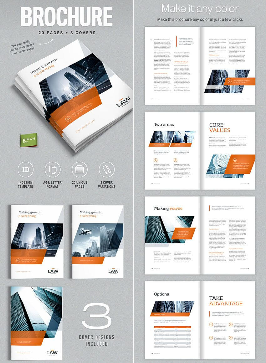 Brochure Template For Indesign - A4 And Letter | Indesign Within Brochure Template Indesign Free Download