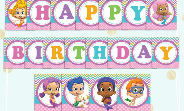 Bubble Guppies Happy Birthday Banner - Printable Pdf Banner with Bubble Guppies Birthday Banner Template