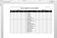 Budget Vs Actual Report Template | G&a104-5 inside Sales Trip Report Template Word