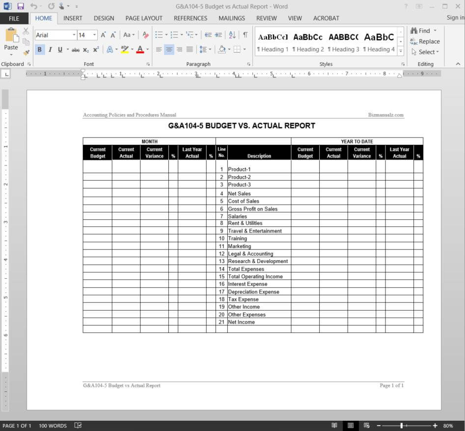 Budget Vs Actual Report Template   G&a104 5 Inside Sales Trip Report Template Word