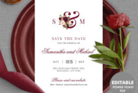 Burgundy Save The Date Card Template, Editable Monogram Save The Date,  Printable Wedding Save The Date Instant Download Mar1 for Save The Date Powerpoint Template