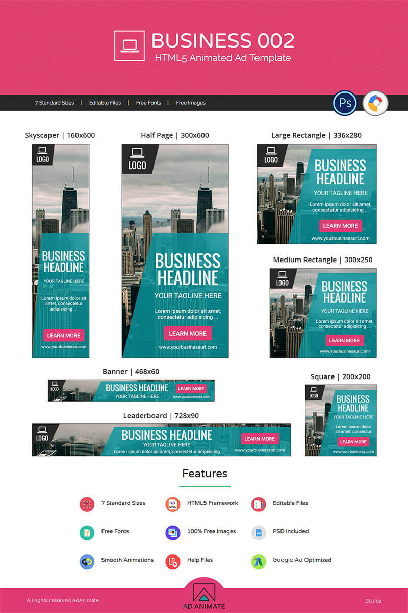 Business 002 - Html5 Ad Animated Banner pertaining to Animated Banner Template