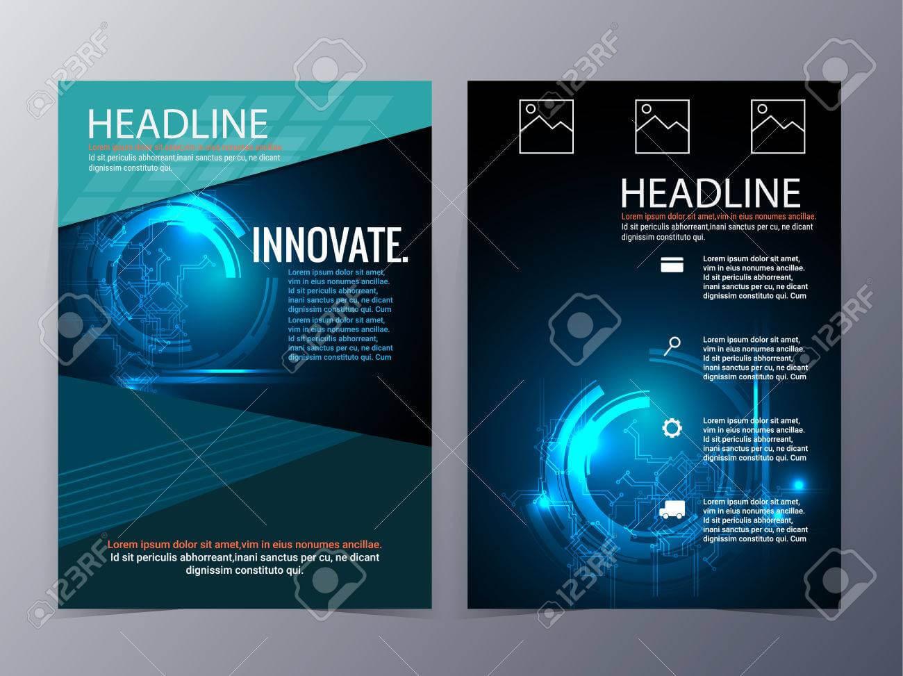 Business And Technology Brochure Design Template Vector Tri-Fold.. inside Technical Brochure Template