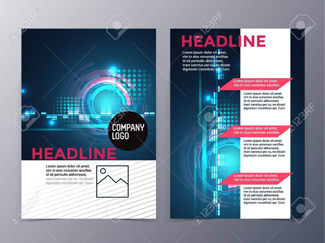 Business And Technology Brochure Design Template Vector Tri Fold.. With Regard To Technical Brochure Template