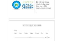 Business Card Appointment Reminder Card Templates – Gargle with Dentist Appointment Card Template