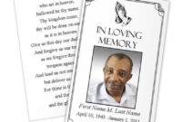 Business Card Photoshop Template Funeral Prayer Card with Memorial Cards For Funeral Template Free