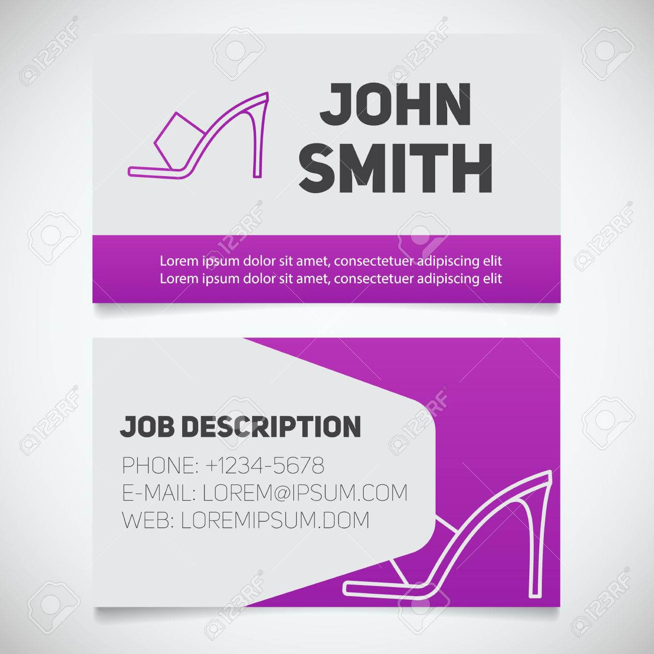 Business Card Print Template With High Heel Shoe Logo. Manager for High Heel Template For Cards