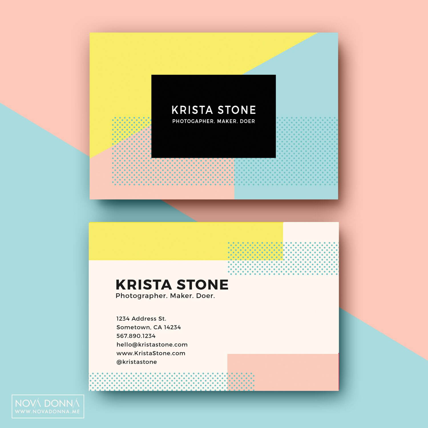 Business Card Template Designs | Pop Geometric | Name Card Pertaining To Business Card Maker Template