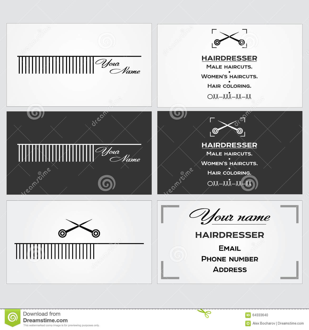 Business Card Template For A Hairdresser. Stock Vector with regard to Hairdresser Business Card Templates Free