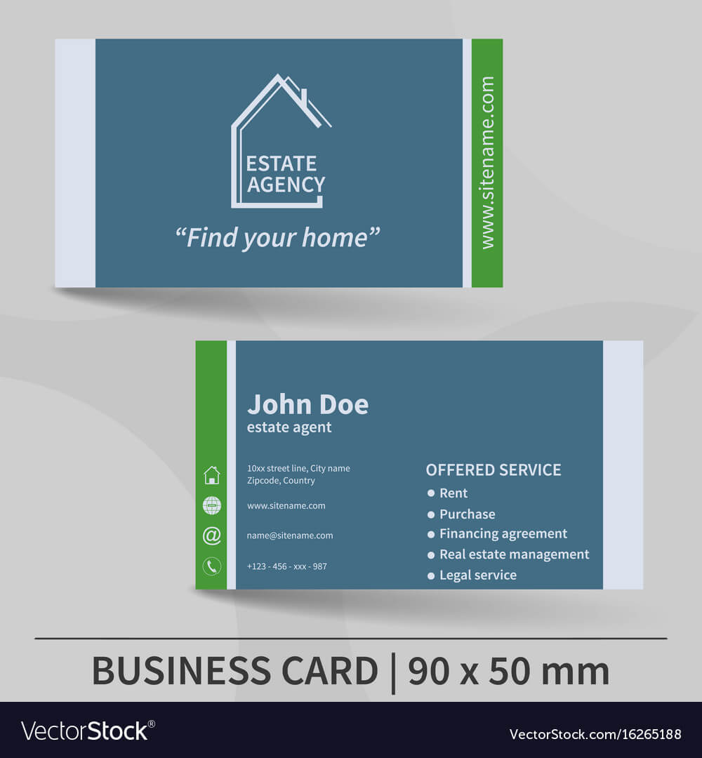 Business Card Template Real Estate Agency Design With Regard To Real Estate Agent Business Card Template