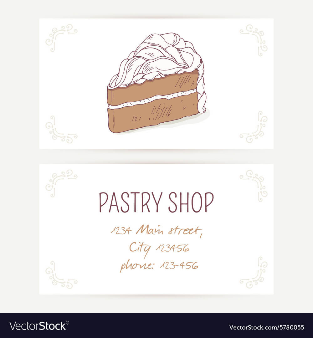 Business Card Template With Chocolate Cake throughout Cake Business Cards Templates Free