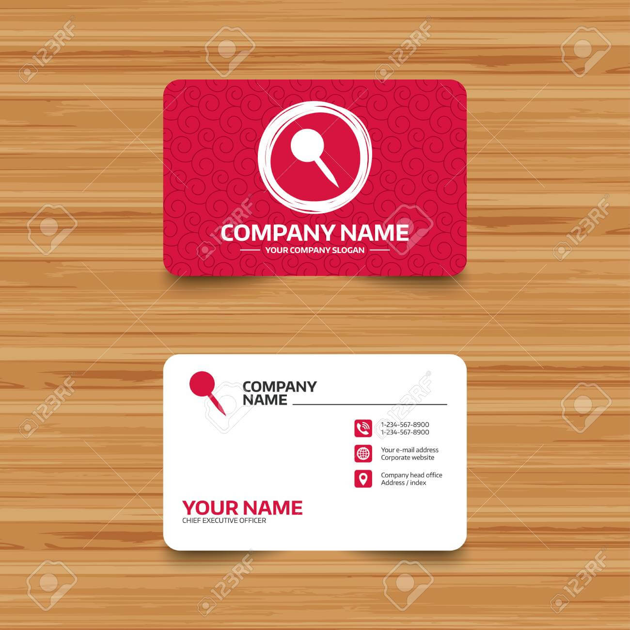 Business Card Template With Texture. Pushpin Sign Icon. Pin Button inside Push Card Template