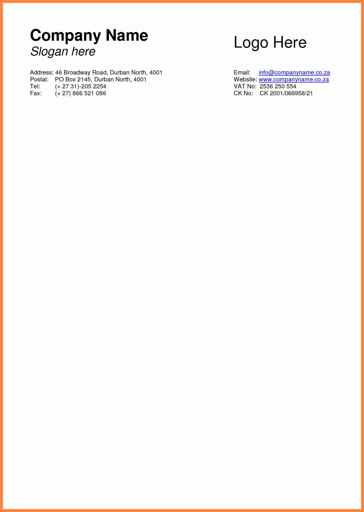 Business Letterhead Template Word Letter Sample Templates within Headed Letter Template Word
