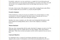 Business Plan Company Overview Example Executive Summary Pertaining To Industry Analysis Report Template