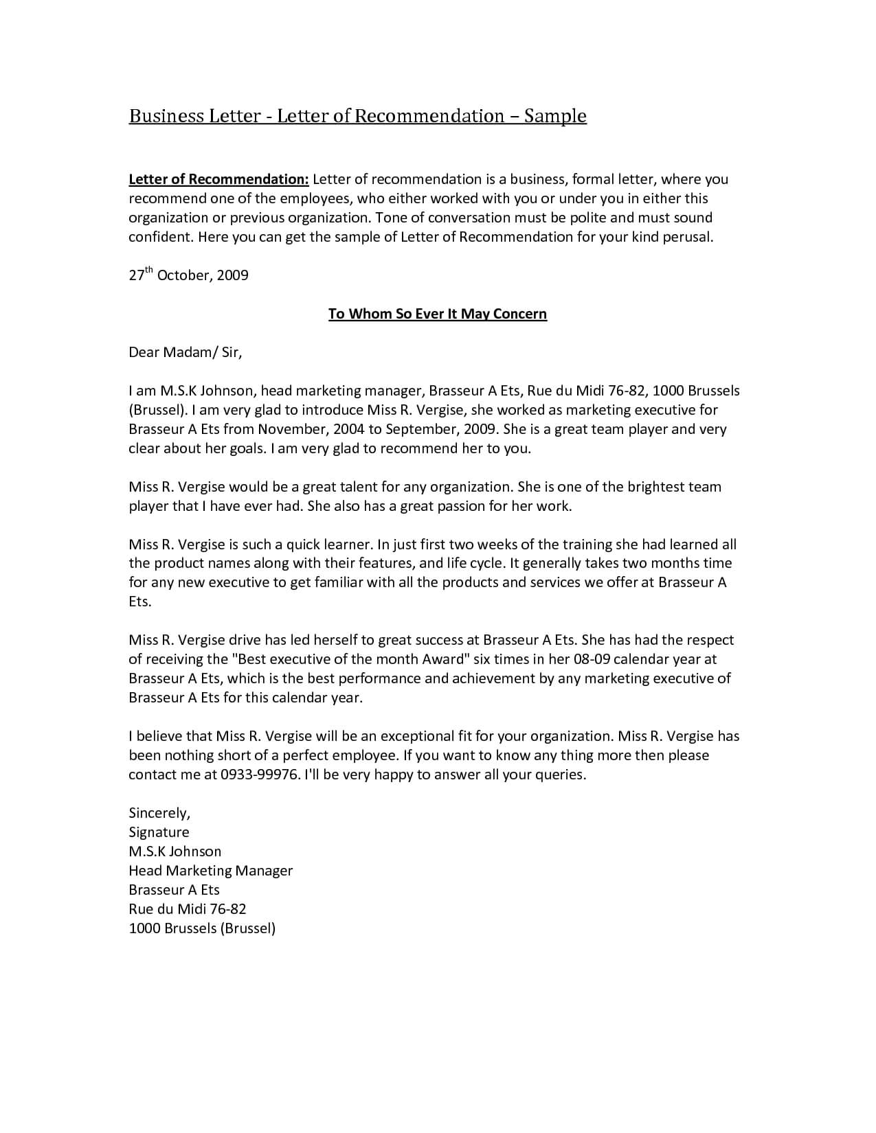 Business Reference Letter Template Word Collection | Letter in Business Reference Template Word