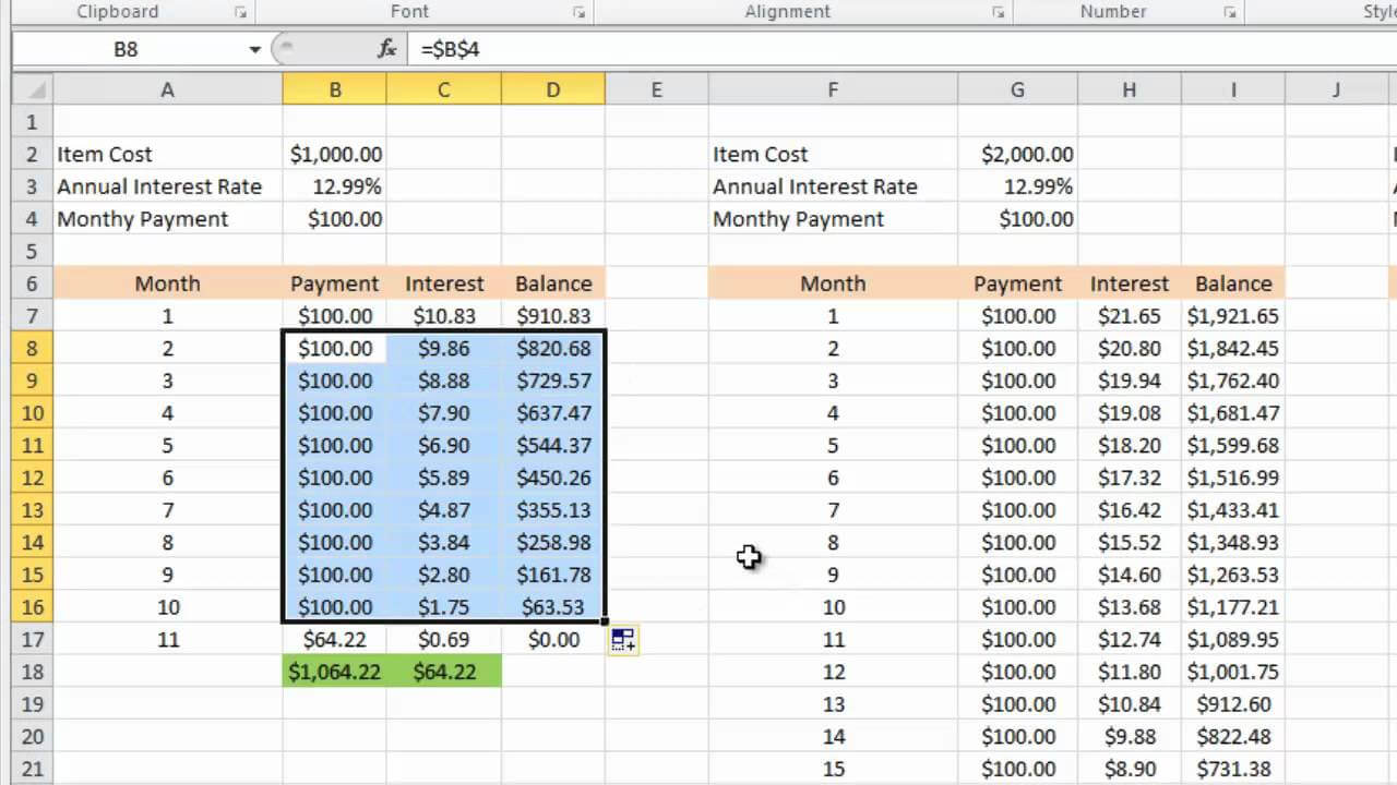 Calculating Credit Card Payments In Excel 2010 Within Credit Card Interest Calculator Excel Template