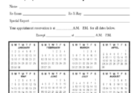 Calendar Appointment Cards inside Chiropractic Travel Card Template
