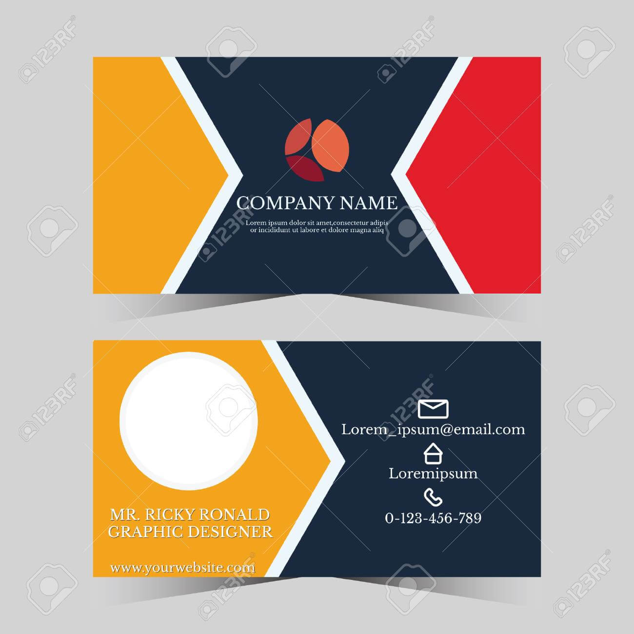 Calling Card Template For Business Man With Geometric Design Within Template For Calling Card