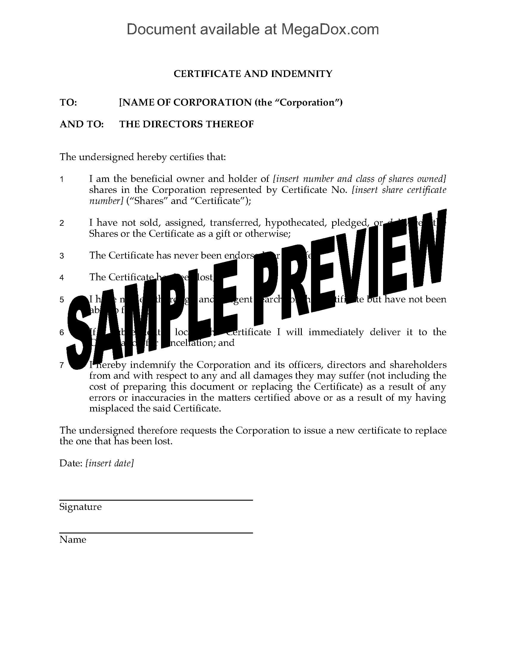 Canada Indemnity For Lost Share Certificate in Share Certificate Template Australia