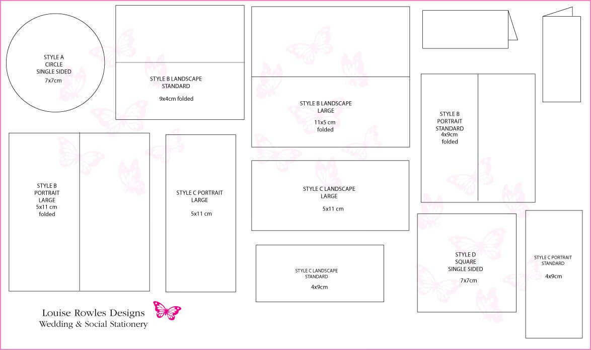 Card Dimensions | Place Cards Sizes & Layouts » Louise Intended For Place Card Size Template
