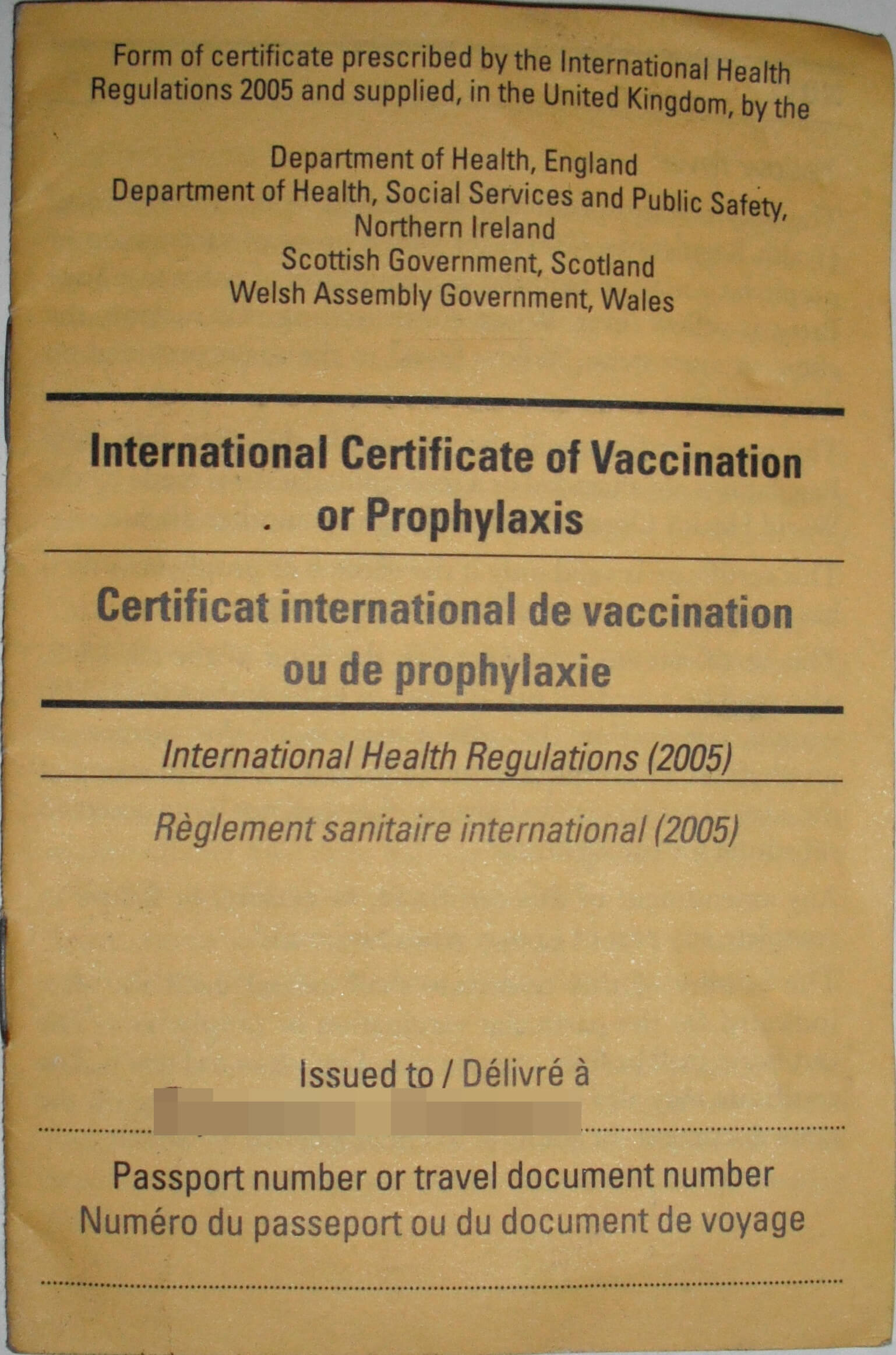 Carte Jaune - Wikipedia throughout Certificate Of Vaccination Template