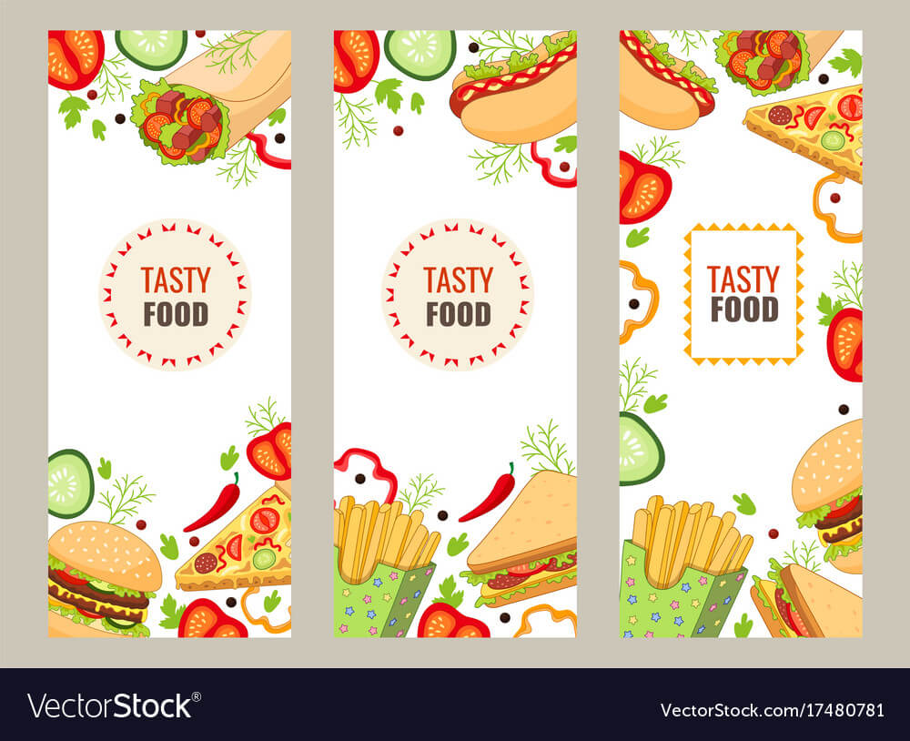 Cartoon Flat Fast Food Banner Template Set regarding Food Banner Template