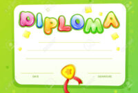 Cartoon Kids Certificate, Diploma Template. Children Achievement,.. inside Certificate Of Achievement Template For Kids