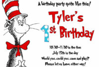 Cat In The Hat Invitation Printed 5X7 Customized Birthday with Dr Seuss Birthday Card Template