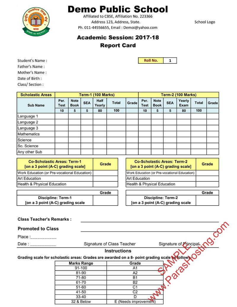 Cbse Report Card Format For Class Vi To Viii | Cards With Report Card Template Pdf