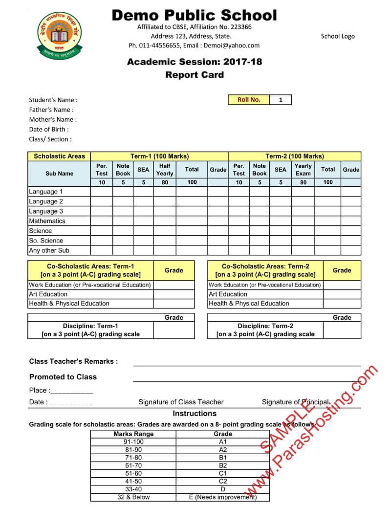 Cbse Report Card Format For Primary Classes- I To V pertaining to Middle School Report Card Template
