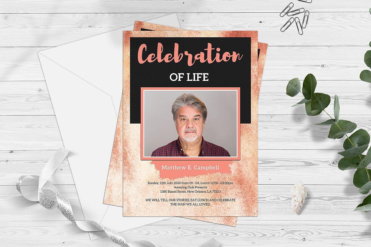 Celebration Of Life Funeral Program Invitation Card Template throughout Funeral Invitation Card Template