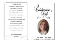Celebration Of Life with Free Obituary Template For Microsoft Word