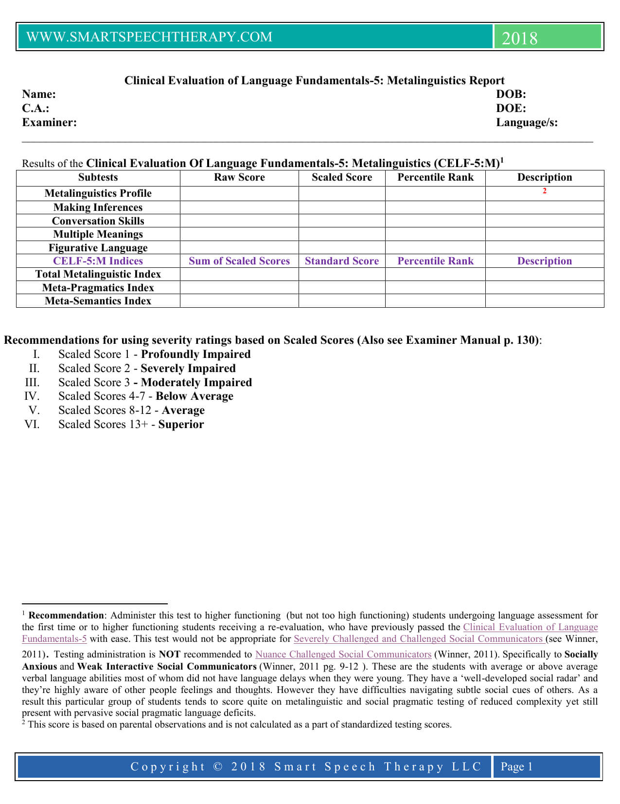 Celf 5 Report Template for Speech And Language Report Template