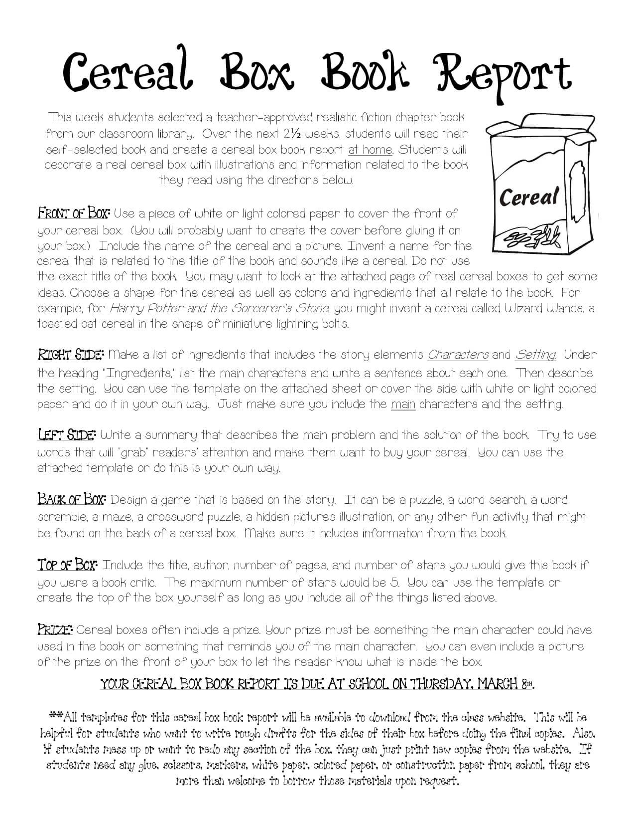 Cereal Box Book Report Instructions   Cereal Box Book Report within Cereal Box Book Report Template