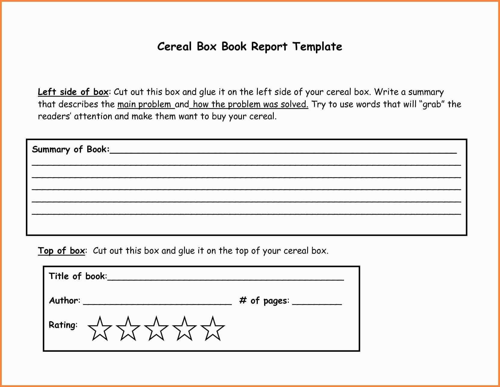 Cereal Box Book Report Samples And 4Th Grade Book Report Within Cereal Box Book Report Template