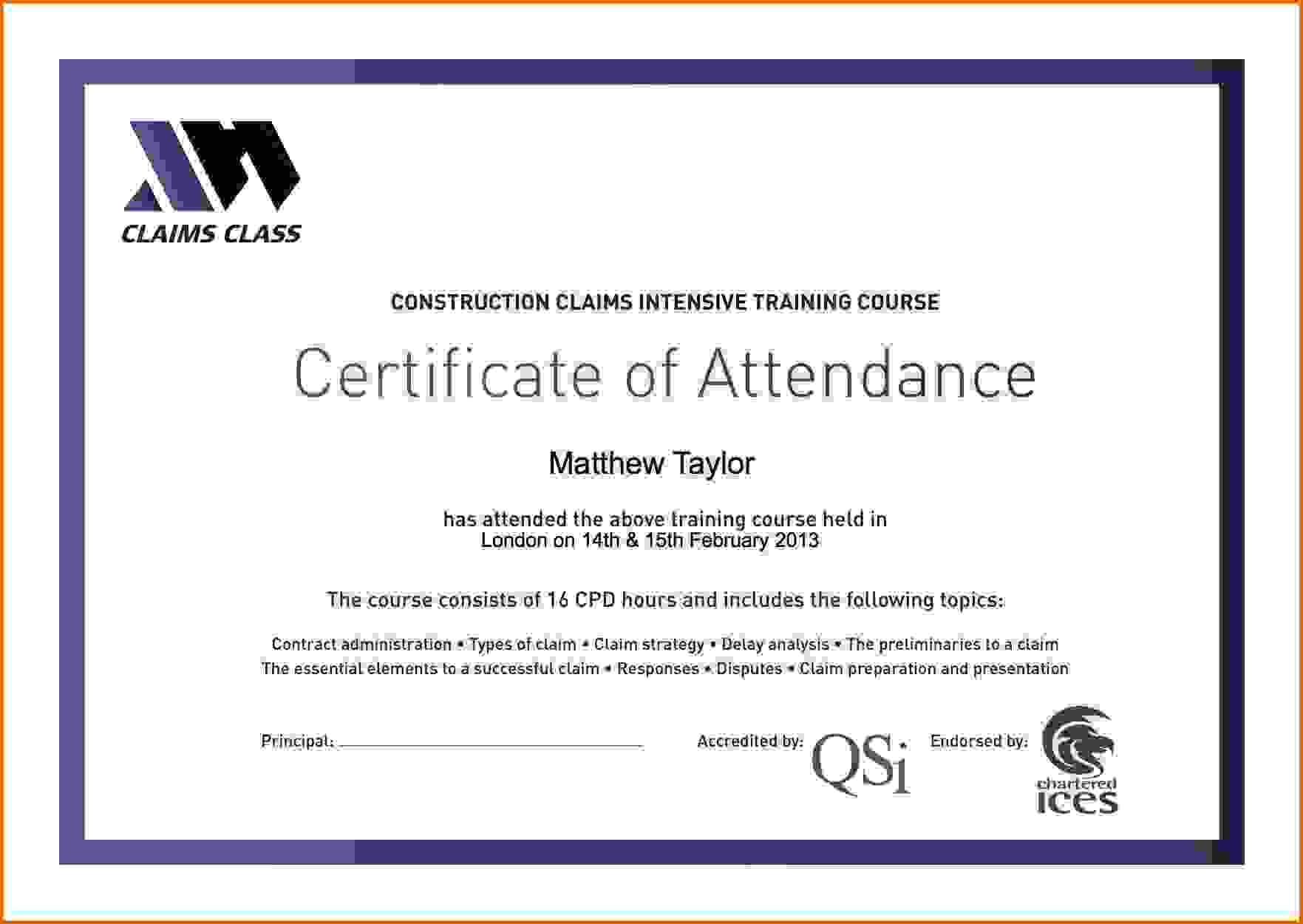 Certificate Attendance Templatec Certification Letter regarding Perfect Attendance Certificate Template