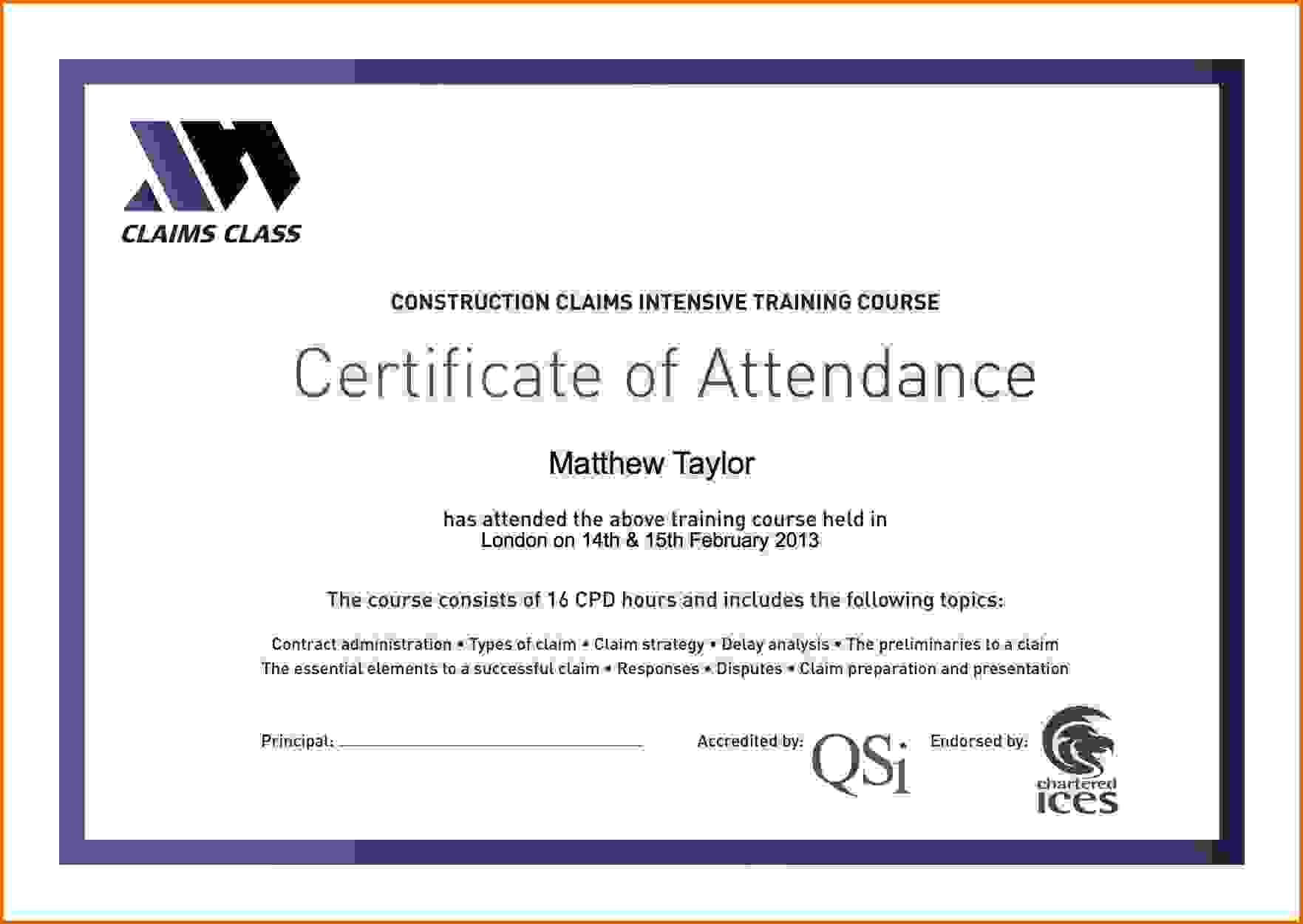 Certificate Attendance Templatec Certification Letter With Attendance Certificate Template Word