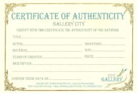 Certificate Authenticity Template Art Authenticity for Free Art Certificate Templates